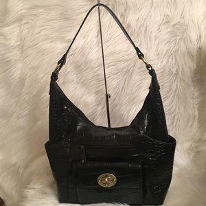 Michael Rome Black Leather Croc Shoulder Bag